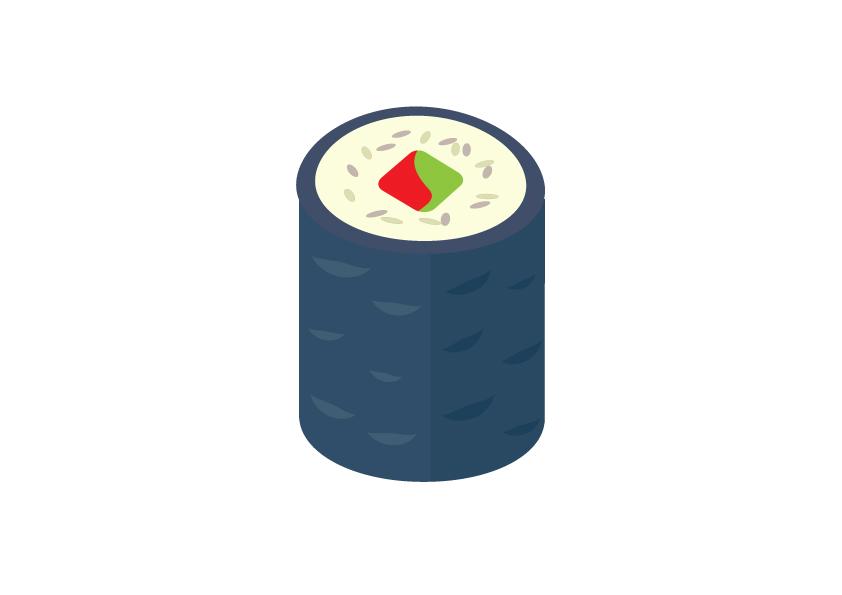 Spargel-Paprika-Sushi