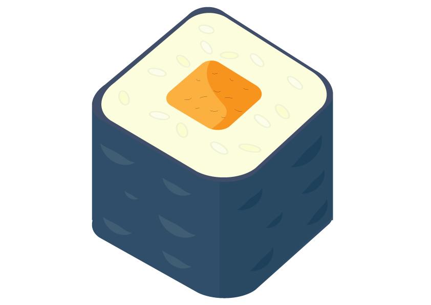 Sushi mit Karotten
